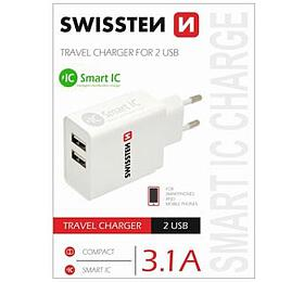 SWISSTEN TRAVEL CHARGER SMART IC WITH 2x USB 3,1A POWER WHITE (22013307) - Swissten
