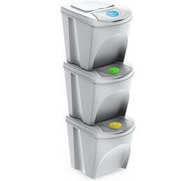Sada 3 odpadkových košů SORTIBOX bílá 392X293X335 s bílým víkem a nálepkami PROSPERPLAST - Prosperplast