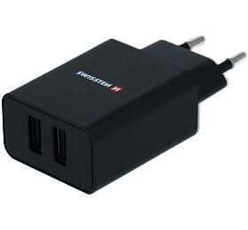 SWISSTEN SÍŤOVÝ ADAPTÉR SMART IC, CE 2x USB 2,1 A POWER ČERNÝ + DATOVÝ KABEL SWISSTEN USB / LIGHTNING 1,2 M ČERNÝ (22058000) - Swissten