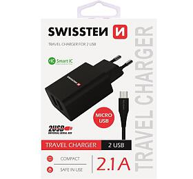 SWISSTEN SÍŤOVÝ ADAPTÉR SMART IC, CE 2x USB 2,1 A POWER ČERNÝ + DATOVÝ KABEL SWISSTEN USB / MICRO USB 1,2 M ČERNÝ (22052000) - Swissten