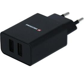 SWISSTEN SÍŤOVÝ ADAPTÉR SMART IC, CE 2x USB 2,1 A POWER ČERNÝ + DATOVÝ KABEL SWISSTEN USB / MICRO USB 1,2 M ČERNÝ (22054000) - Swissten