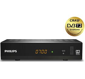 PHILIPS DVB-T/T2 set-top-box DTR3502BFTA/ Full HD/ H.265/HEVC/ CRA ověřeno/ PVR/ EPG/ USB/ HDMI/ LAN/ SCART/ černý - Philips