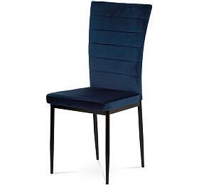 Jídelní židle, modrá látka samet, kov černý mat Autronic AC-9910 BLUE4 - Autronic