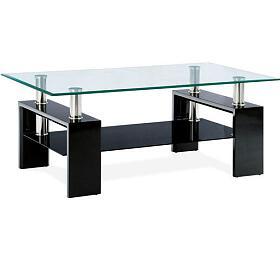 Konferenční stolek 110x60x45 cm, černý lesk / čiré sklo 8 mm Autronic AF-1024 BK, Černá - Autronic