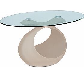 Konferenční stolek 90x55x44 cm, cappuccino vysoký lesk, čiré sklo Autronic AHG-226 CAP, Čirá - Autronic