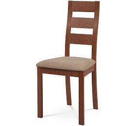Jídelní židle, masiv buk, barva třešeň, látkový béžový potah Autronic BC-2603 TR3 - Autronic