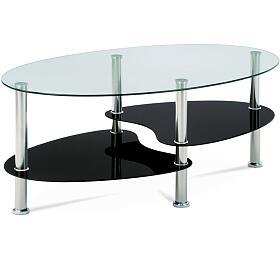 Konferenční stolek, čiré sklo / černé sklo / leštěný nerez Autronic GCT-302 GBK1, Čirá - Autronic