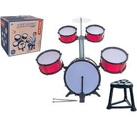 Bicí souprava/bubny plast 5ks s příslušenstvím v krabici 42x40x32cm - Teddies