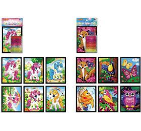 Mozaika obrázek mini jednorožec třpytivý 10x12cm mix druhů v sáčku 24ks v boxu - SMT Creatoys