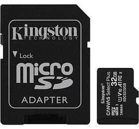 Paměťová karta KINGSTON Canvas Select Plus 32GB microSD vč. SD adaptéru (SDCS2/32GB) - Kingston