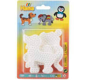 Podložka na zažehlovací korálky Hama slon,tučňák,pejsek plast 3ks na kartě 12x18x3cm - Lowlands