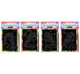 Škrabací mini obrázek duhový jednorožec 8,5x12cm 4 druhy v sáčku 36ks v boxu - SMT Creatoys