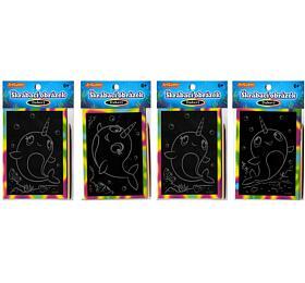 Škrabací mini obrázek duhový 8,5x12cm 4 druhy v sáčku 36ks v boxu - SMT Creatoys