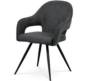 Jídelní židle, šedá látka, kovová podnož, černý matný lak Autronic HC-031 GREY2 - Autronic