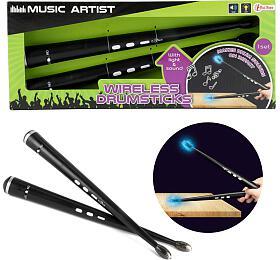 Paličky pro bicí bezdrátové plast 34cm na baterie se zvukem se zvukem v krabici 37x15x5cm - Teddies