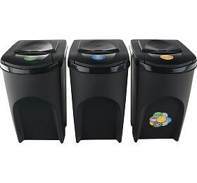 Sada 3 odpadkových košů SORTIBOX ANTRACIT 392x293x620 / 35L s černým víkem a nálepkami PROSPERPLAST - Prosperplast