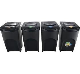 Sada 4 odpadkových košů SORTIBOX ANTRACIT 392x293x680 / 35L PROSPERPLAST - Prosperplast