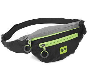Spokey BOREAS menší sportovní ledvinka černo-šedá, zelený zip, 3 l - Spokey