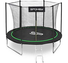 Spokey JUMPER Trampolína černo-zelená, průměr 244 cm, vč. ochranné sítě a žebříku - Spokey