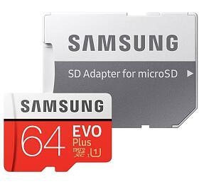 Paměťová karta Samsung EVO Plus Micro SDXC 64GB + SD adaptér (MB-MC64HA/EU) - Samsung
