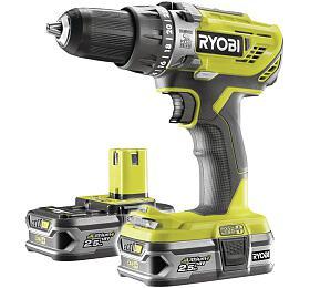 Ryobi R18PD3-225S, aku 18 V vrtačka + 2x baterie 2,5 Ah + nabíječka ONE+ - Ryobi