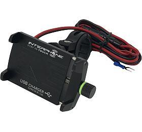 Univerzální držák Interphone CRAB Evo Alu s odolnou konstrukcí a nabíječkou, úchyt na řídítka - Interphone
