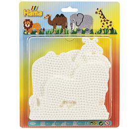 Podložka na zažehlovací korálky Hama MIDI slon,žirafa,lev,velbloud plast 4ks na kartě 19x24cm - Lowlands