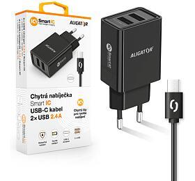 Chytrá síťová nabíječka ALIGATOR 2.4A, 2xUSB, smart IC, černá, USB-C kabel 2A - Aligator