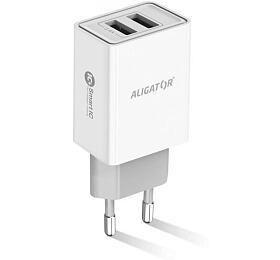 Chytrá síťová nabíječka ALIGATOR 2.4A, 2xUSB, smart IC, bílá, kabel pro iPhone/iPad 2A - Aligator