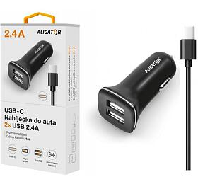 Nabíječka do auta ALIGATOR USB-C s 2xUSB výstupem 2,4A, Turbo charge, černá - Aligator