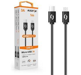Datový kabel ALIGATOR POWER 3A, USB-C/micro USB 1m černý - Aligator