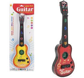 Kytara plast 41cm na baterie se zvukem se světlem 2 barvy na kartě - Teddies