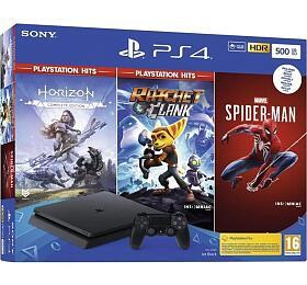 Herní konzole Sony PS4 500GB + Marvels Spider/HZN/R&C - Sony
