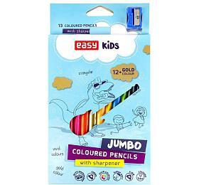 Trojhranné pastelky JUMBO 12 ks + 1 zlatá barva - EASY