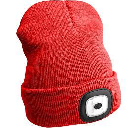Čepice s čelovkou 180lm, nabíjecí, USB, univerzální velikost, červená SIXTOL - Sixtol