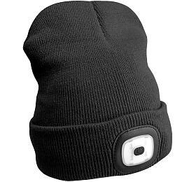 Čepice s čelovkou 180lm, nabíjecí, USB, univerzální velikost, černá SIXTOL - Sixtol