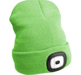 Čepice s čelovkou 180lm, nabíjecí, USB, univerzální velikost, fluorescentní zelená SIXTOL - Sixtol