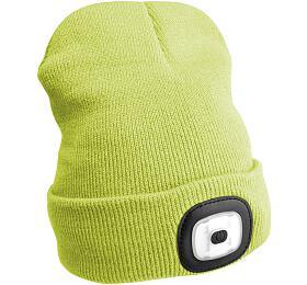 Čepice s čelovkou 180lm, nabíjecí, USB, univerzální velikost, fluorescentní žlutá SIXTOL - Sixtol