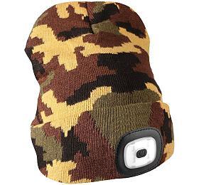 Čepice s čelovkou 180lm, nabíjecí, USB, univerzální velikost, maskáčová SIXTOL - Sixtol
