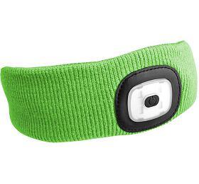 Čelenka s čelovkou 180lm, nabíjecí, USB, univerzální velikost, fluorescentní zelená SIXTOL - Sixtol