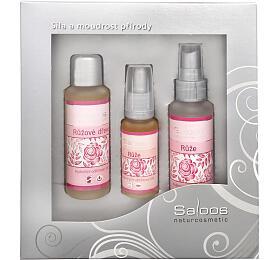 Saloos Růže regenerační obličejový olej Růže 20 ml + květinová voda Růže 50 ml + hydrofilní odličovací olej Růžové dřevo 50 ml dárková sada - Saloos