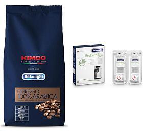 SET Káva DeLonghi Kimbo 100% Arabica 1kg zrnková + DeLonghi EcoDecalk mini - DeLonghi