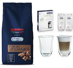 SET Káva DeLonghi Kimbo 100% Arabica 1kg zrnková + DeLonghi EcoDecalk mini + Skleničky na latte macchiato DeLonghi - DeLonghi
