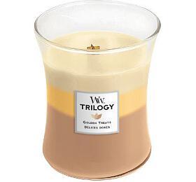 WoodWick Trilogy vonná svíčka s dřevěným knotem Golden Treats 275g - WoodWick