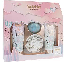 Style & Grace Bubble Boutique dárková sada (sprchová květina + pěnová koule do koupele 80g + tělové mléko 100 ml + tělové mýdlo 100 ml) - Style & Grace