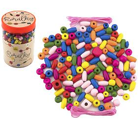 Korálky dřevěné barevné s gumičkami cca 90 ks v plastové dóze 9x13,5cm - Teddies