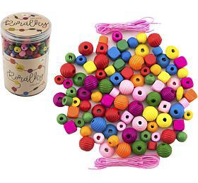Korálky dřevěné barevné s gumičkami cca 800 ks ve velké plastové dóze 10x15cm - Teddies