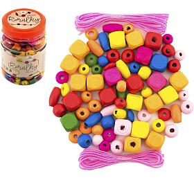 Korálky dřevěné barevné s gumičkami cca 300ks v plastové dóze 7x11cm - Teddies