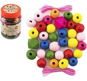 Korálky dřevěné barevné MAXI s gumičkami 54ks v malé plastové dóze 7x11cm - Teddies