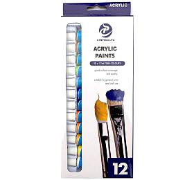 Barvy akrylové 12ks 12ml v krabičce 10x25,5x2cm - SMT Creatoys